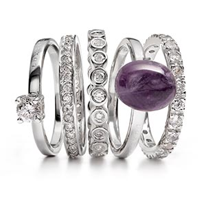 A medley of fine stone rings