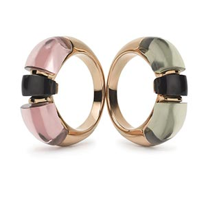 Two tone rings in beige and olive